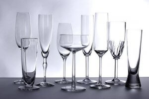 Clean and shiny glassware displayed under light